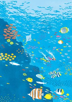 Under the sea Ocean Illustration, Graphic Illustration, Graphic Art, Up Book, Fish Art, Book Cover Design, Illustrations Posters, Art Drawings, Indie