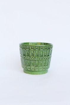 Scheurich Blumentopf, Pflanzentopf, Übertopf vintage, WGP, grüner Keramiktopf, flower pot, west german pottery, Blumenpott, Inka Muster