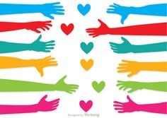 Colorful illustration of Helping Hand Vector Pack - this pack is made with love and shows love. These helping hand vectors would be perfect for community service or faith projects. Helping Hands Logo, Hand Images, Business Stories, Doodles, Hand Logo, High Hopes, Fire Heart, Hand Illustration, Illustrations