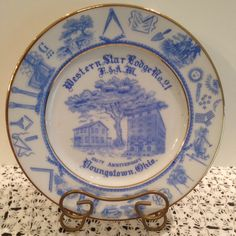 Freemasons 100th Anniversary, Western Star Lodge No.21, 1813-1913 Youngstown, Ohio, Working Tools, Symbols, Commemorative Plate, Limoges by Sunshineoftreasures on Etsy