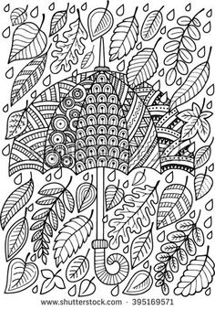 Hand draw vector doodle coloring page for adult. I love Autumn.  An Umbrella and…