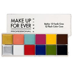 MAKE UP FOR EVER - 12 Flash Color Case. This 12 Flash Color Case is found in the kits of many well-known makeup artists. You can create an array of looks with this palette and it's great for traveling. It can be used on the eyes, cheeks, and lips. Mac Makeup, Makeup Kit, Makeup Tools, Beauty Makeup, Makeup Products, Makeup Artists, Beauty Products, Top Beauty, Sephora Makeup
