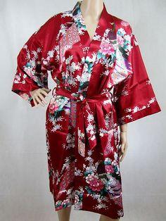 Wine Burgundy Maroon Red Silk LONG Bathrobe, House coat, kimono, dressing gown personalised custom bridesmaid bride mother of the bride