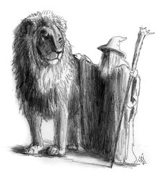 Emperor's Palace - Gandalf and Aslan by Jef Murray - Tolkien and Lewis