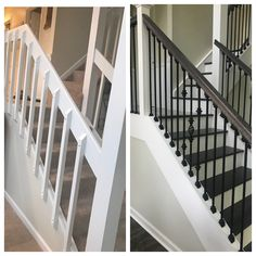 not to code, face mount balusters now iron railings, walnut stained handrails, white wood painted Newell posts and trim.