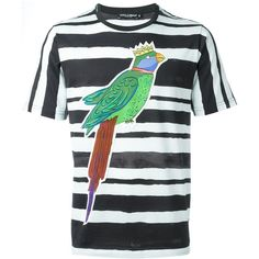 Dolce & Gabbana parrot print T-shirt (1.915 BRL) ❤ liked on Polyvore featuring men's fashion, men's clothing, men's shirts, men's t-shirts, black, mens print shirts, mens patterned t shirts, mens short sleeve cotton shirts, mens short sleeve t shirts and mens cotton shirts