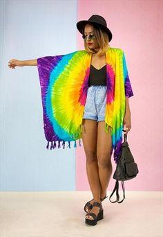 NEW Kimono Jacket in a Colourful Rainbow Tye Dye