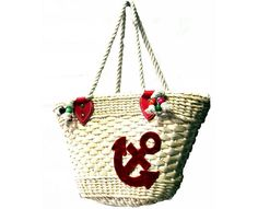 Anchor Straw Bag with red detail - The Handbag Hut