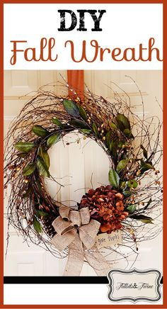 Tidbits & Twine - How to make an inexpensive fall wreath plus step-by-step instructions for making a fancy bow!