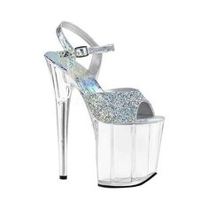 f82d0165c3 Pleaser Women's Flamingo 809RS Platform Ankle Strap Sandal, Size: Size 8,  Silver Hologram Synthetic/Multi Rhinestone/Clear