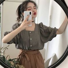 Discover fashion and beauty online with YesStyle! Shop for Women's Clothing - FREE Worldwide Shipping available! Korean Girl Fashion, Ulzzang Fashion, Korea Fashion, Asian Fashion, Aesthetic Fashion, Aesthetic Clothes, Style Ulzzang, Korean Blouse, Vintage Outfits