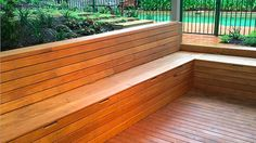 Along with the benefits of ample seating and inbuilt storage beneath this timber seat the ability to custom design and build the seating to suit the specific site conditions allows for its inclusion in some quite modest spaces.