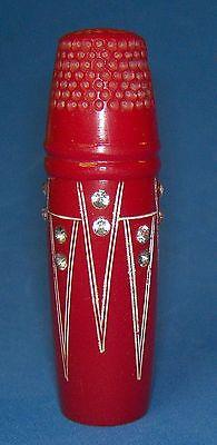 Vintage-Red-Bakelite-RS-Art-Deco-Thimble-Sewing-Etui-Needle-Case-Thread-France