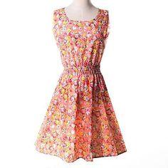 Womens Summer Floral Print Waist Dress