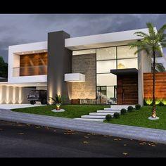 Ideas For House Facade Design Modern Architecture Arquitetura Villa Design, Facade Design, Exterior Design, Modern House Plans, Modern House Design, Modern Architecture House, Architecture Design, Landscape Architecture, Landscape Design