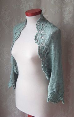 Knit/crochet pattern, Ice blue shrug, PDF