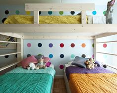 Random. But I really like this for a big family/small house set up. Bright and colorful and everyone gets their own bed.