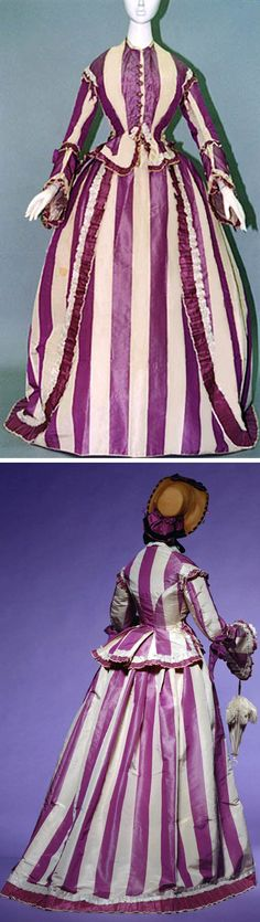Day dress, early 1860s. Purple and white striped silk taffeta set of bodice and skirt, worn over crinoline. Pagoda sleeves with bows; frills on bodice and hem of skirt. Kyoto Costume Institute