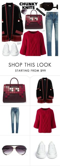 """""""Street style - Chunky knits"""" by cly88 ❤ liked on Polyvore featuring Anya Hindmarch, MASSCOB, Yves Saint Laurent, Lands' End, Sacai, Robert Clergerie and Georg Jensen"""