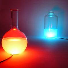Belgian designer Maarten De Ceulaer: a series of lights containing water tinted with food colouring.