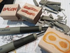 DIY: carve your own stamps - Bacon and Eggs!