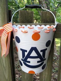Personalized AUBURN  flower bucket /door hanger-assorted colors available. $25.00, via Etsy.