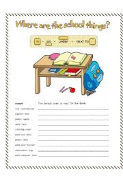English teaching worksheets: In/on/under