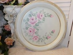 HAND PAINTED GORGEOUS TRAY hp roses chic shabby vintage cottage Victorian pink #VINTAGESILVERPLATE avail on EBAY.  seller sunny-sommers