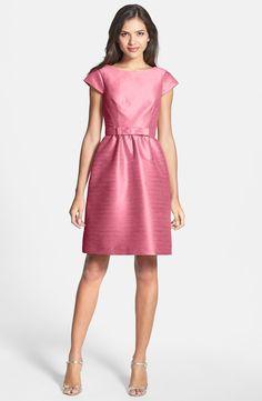 """Papaya"" Alfred Sung Fit & Flare Dress worn by Rachel in Glee's ""A Wedding"" episode. #glee #wedding"