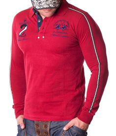 631513cd0c La Martina Long Sleeve Polos - Maserati Team Red Polo Camisas Hombre