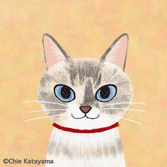 """片山智恵 Chie Katayama on Instagram: """"久しぶりの #にゃ顔絵 しろちゃん @shiro_0804 お誕生日おめでとう✨ 20才を楽しんで欲しいにゃ。 いつも可愛いしろちゃん❤️"""" Sleepy Cat, Cat Art, Pikachu, Kittens, Character Design, Doodles, Fine Art, Illustration, Fictional Characters"""