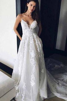 Wedding Dresses 2018 #WeddingDresses2018, V-neck Wedding Dresses #VneckWeddingDresses, Wedding Dresses With Appliques #WeddingDressesWithAppliques, V-Neck Wedding Dresses #VNeckWeddingDresses, Wedding Dresses 2018