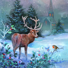 Midnight Stag   Charity Christmas Card Christmas Family Feud, Christmas Scenes, Noel Christmas, Christmas Animals, Christmas Games, Winter Christmas, Xmas, Vintage Christmas Images, Christmas Pictures