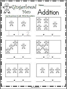 Gingerbread Man Addition Math Worksheet