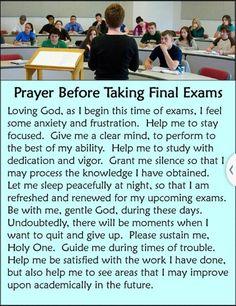 Prayer before final exams