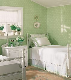 Small bedroom design is something that many wanted by someone. Especially you who do not have a large room in the house, small bedroom desig. Green Rooms, Bedroom Interior, Bedroom Design, Green And White Bedroom, Interior Design Bedroom Small, Beautiful Bedrooms, Bedroom Green, Home Decor, Very Small Bedroom