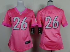 Nike Pittsburgh Steelers #26 LeVeon Bell Pink Game Womens Jersey