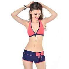 fec37aee06feb 2017 Sexy Pad Bikini Push Up Swimwear Women Swimsuit Solid Halter Tankini  Swimwear With Shorts Swim