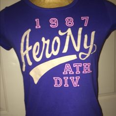 Purple Aeropostale shirt cotton material so cute! I have this exact top in lime green and pink see my closet for pics they all are Clarke and fit a normal 13-15 ur old girl Aeropostale Tops Tees - Short Sleeve