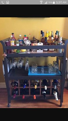RePURPOSE  . . . Changing Table into Awesome Bar Cart!