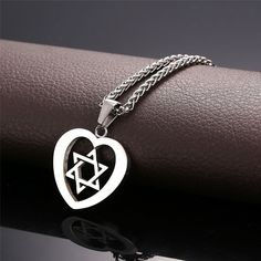 Necklaces, Pendants, Star of David Heart Pendant Necklace Stainless Gold Plated Jewish Jewelry - Fashion Bracelets, Fashion Jewelry, Men's Jewelry, Women Jewelry, Braided Bracelets, Cuff Bracelets, Bracelet Men, Big Men Fashion, Rock Fashion