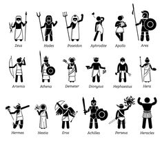 Vector set illustrations of ancient fantasy mythology gods and goddesses characters from greek. Greek Mythology Gods, Greek Mythology Tattoos, Greek Gods And Goddesses, Roman Mythology, Arte Assassins Creed, Greek God Tattoo, Dc Superhero Girl, Zeus Tattoo, Percy Jackson Fan Art