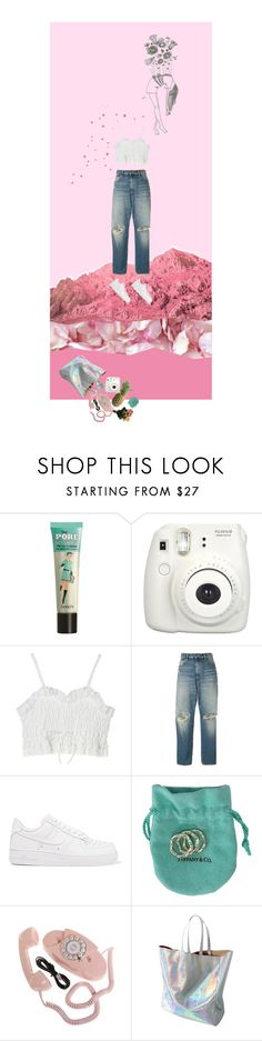 """Fly Away"" by imiliebabe ❤ liked on Polyvore featuring Benefit, Fujifilm, Golden Goose, NIKE, Tiffany & Co. and WithChic"