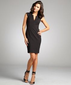 French Connection : black cutout v-neck 'Almonda' cap sleeve stretch dress : style # 323111101