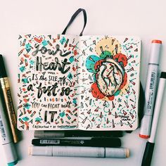 AWESOME ARt JOURNAL! Love the lettering and colours she used... - Eugenia Clara #artjournals #artjournal