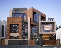 EXTERIOR DESIGN PRIVATE VILLA KUWAIT CITY on Behance Modern House Facades, Modern Bungalow House, Modern Exterior House Designs, Modern Architecture House, Modern House Design, Exterior Design, Residential Building Design, Architecture Building Design, House Outside Design