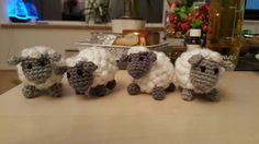 "Project : ""Musical mobile for baby crib"" 🐏🐑🐏🐑  Small crochet sheeps."