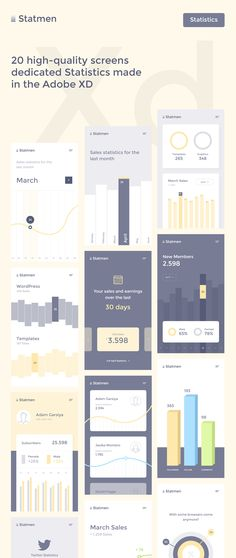 Statmen XD iOS Ui Kit Statistic - 20 high-quality screens made in the new Adobe XD. If you want to show in the Statistics of their applications is beautiful and original, then this kit is for you. All elements are easily modified, edited. All elements of the vector and can be easily adapted for any size.