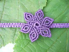 Purple pixie flower macrame bracelet