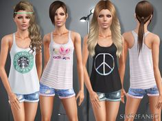 sims2fanbg's 388 - Teen top with shorts